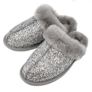 UGG SCUFFETTE SILVER SPARKLE SLIPPERS 9 10 NEW!